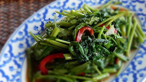 パッパクブーンファイデーン|ผัดผักบุ้งไฟแดง|空芯菜の強火炒め